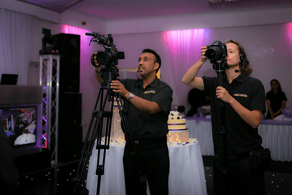 Two cameras set-up at a corporate event